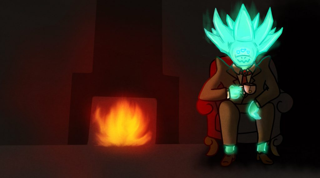 Crota by the fire in a tuxedo