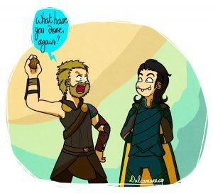 Loki trolling Thor, Ragnarok style
