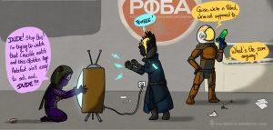 Warlock Trolling a hunter on patrol