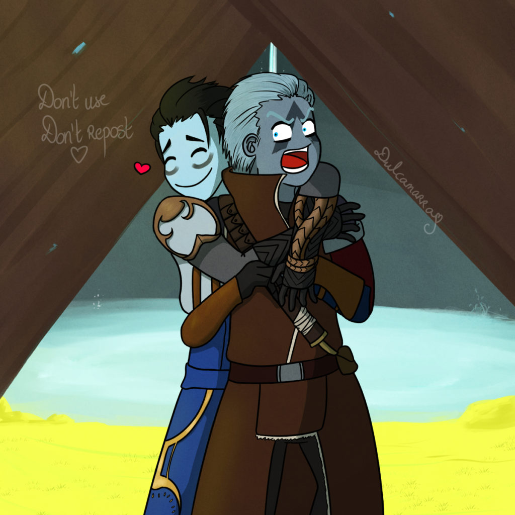 Kaleb the Warlock hugging Asher Mir