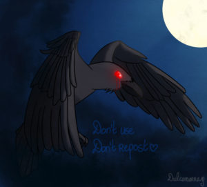 scary crow in the night