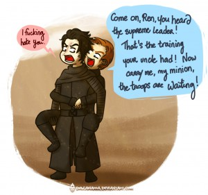 Hux on Kylo Ren's shoulder