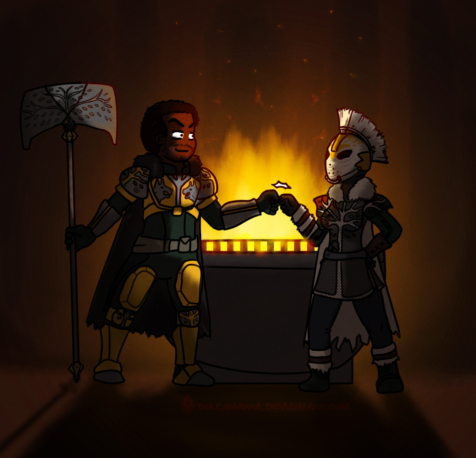 Saladin hands over the burden of the Iron Banner to Lady Efrideet.