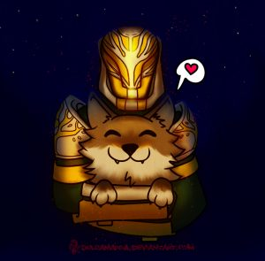 Lord Saladin holding a wolf