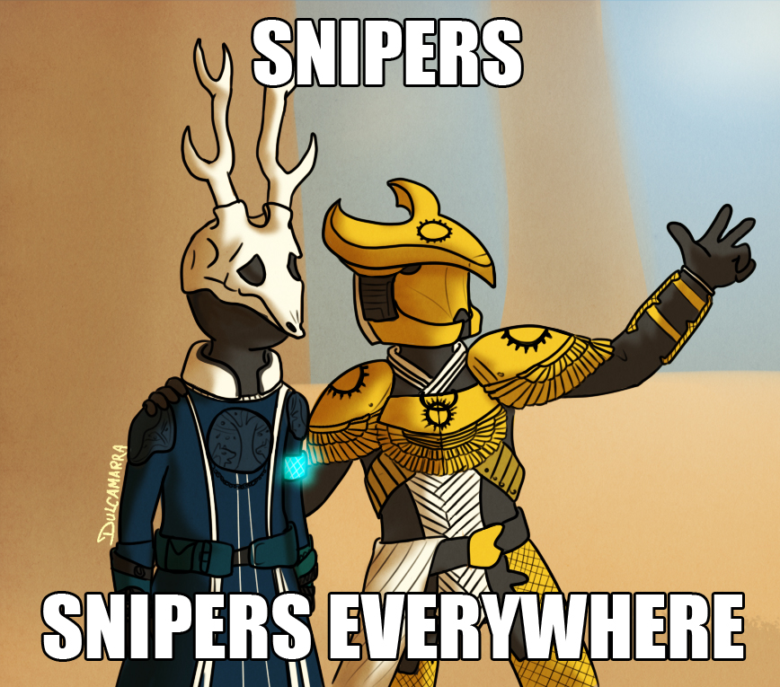 Warlock and Titan in the toy's story meme style, snipers, snipers everywhere