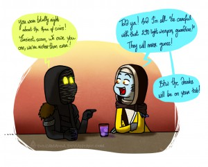 Xur and the Cryptarch having a drink