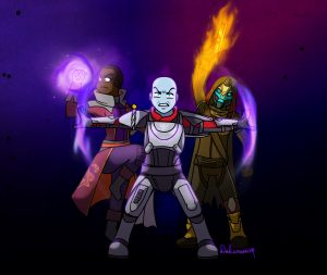 Zavala Cayde-6 and Ikora fighting for the tower