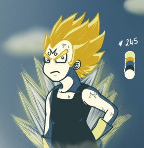 Majin Vegeta from Dragon Ball Z with a given color palette