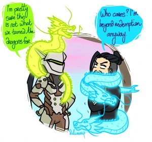 Genji and Hanzo Shimada warming up with dragons