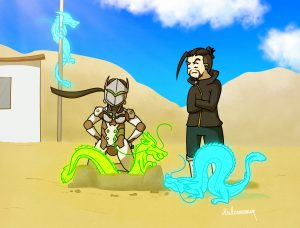 Hanzo and Genji Shimada having fun with their dragons on the beach