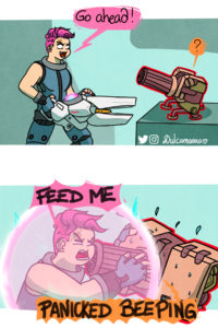 Zarya asking bastion to feed her