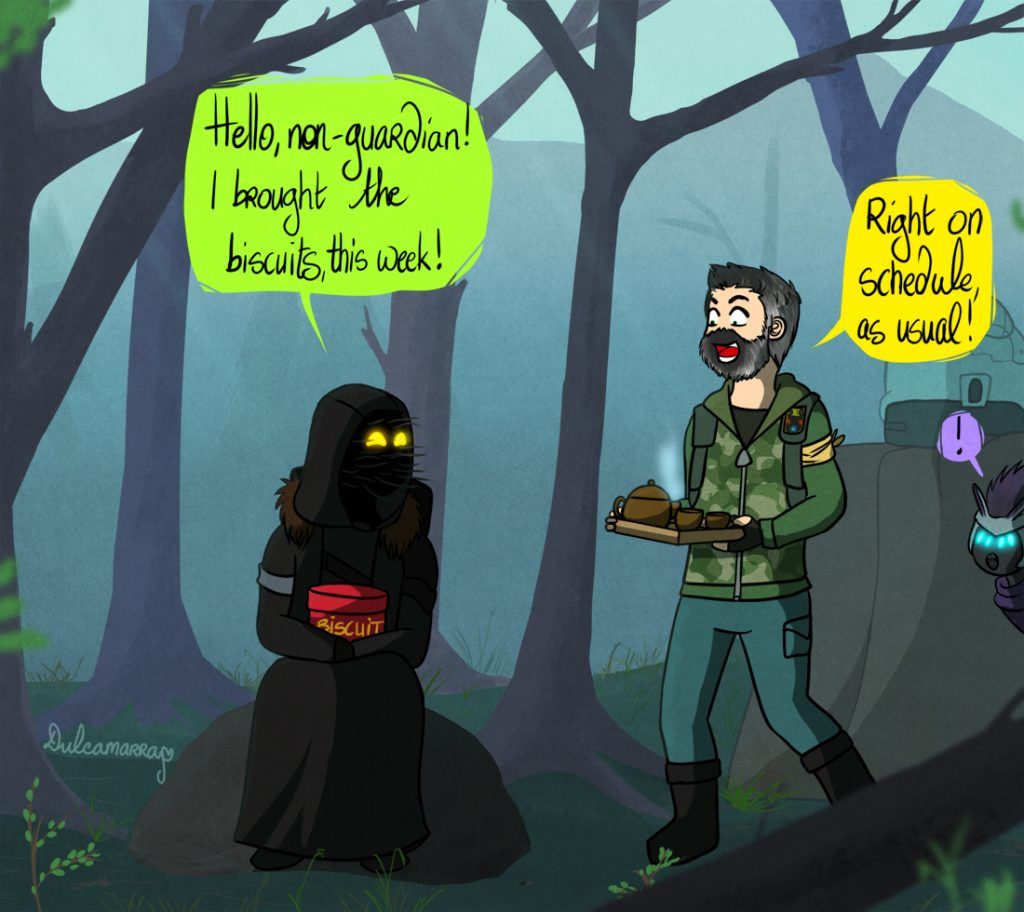Xur and Devrim having tea on the EDZ