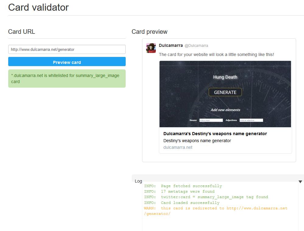 Twitter's card validator