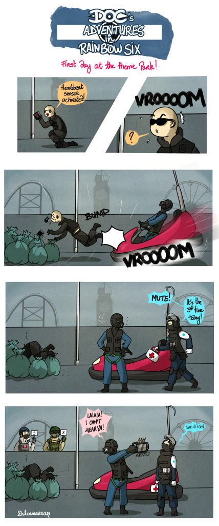 Doc's adventures: Pulse is lookinf for ennemies but Mute bumps him into trash with a bumper car