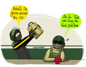 Bandit threatening to defuse Fuze with the defuser