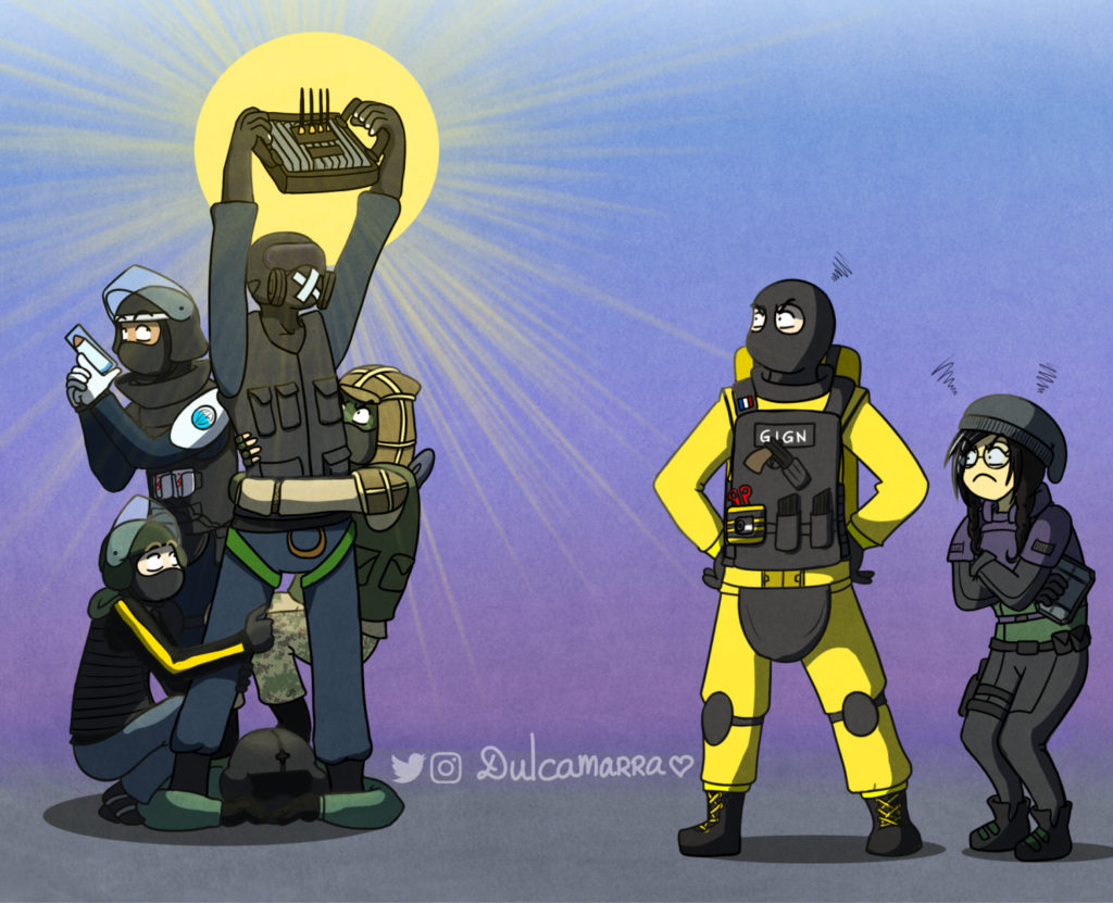 Holy Mute holding a jammer to counter Lion and Dokkaebi