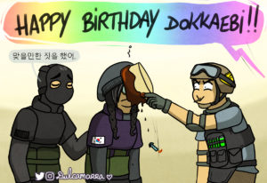 Dokkaebi's birthday with her cake in her face