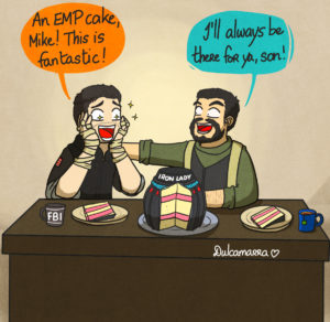 Thatcher and Thermite are celebrating Thermite birthday with an EMP cake