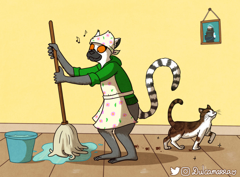 Dulca the lemur cleaning the house