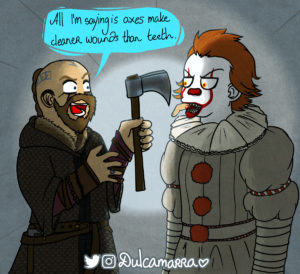 Pennywise the dancing clown and Floki the boat builder