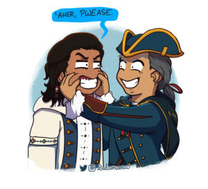 Haytham Kenway pinching Connor's cheeks