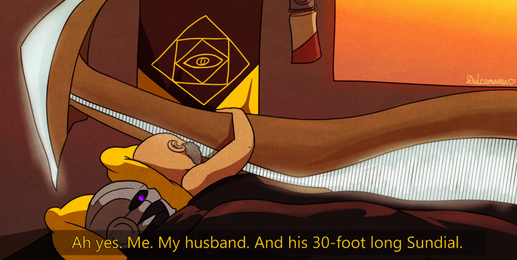 Saint 14: Ah yes. Me. My husband. And his 30-foot tall sundial