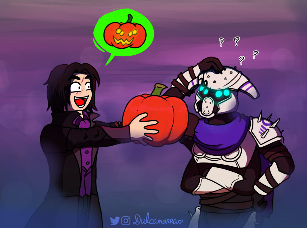 Warlock presenting a pumpkin to carve to a Fallen Vandal
