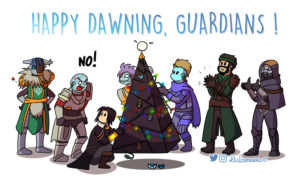 guardians celebrating the dawning by putting lights and ornaments on a pyramid